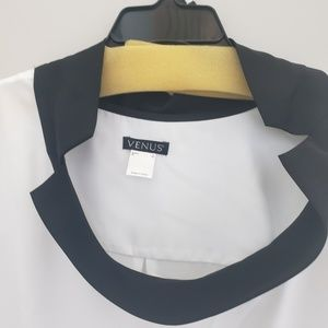 VENUS Tops - white, flowing, shirt with black framed collar